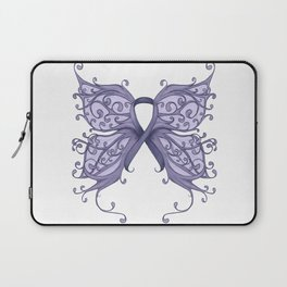Periwinkle Cancer Ribbon with Butterfly Wings Laptop Sleeve