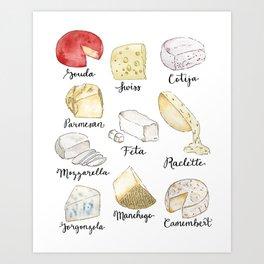 Cheese Board Art Print