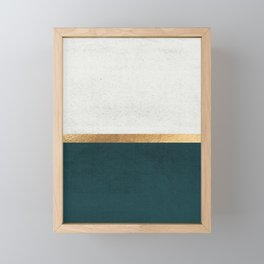 Deep Green, Gold and White Color Block Framed Mini Art Print