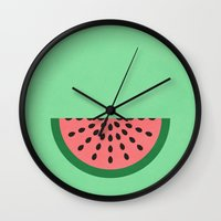 watermelon Wall Clocks featuring Watermelon by Karolis Butenas