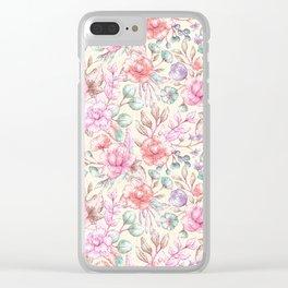 Elegant ivory pink green coral vintage flowers Clear iPhone Case
