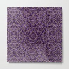Purple and Gold Bandhani Bandhej Indian Sari Print Metal Print