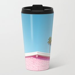 Pink House Roofline with Palm Trees (Palm Springs) Metal Travel Mug