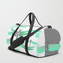 WHITE FLIGHT OF GREEN DRAGONFLIES GREY DESIGN Duffle Bag