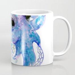 Octopus, sky blue, royal blue sea world underwater scene, beach house art Coffee Mug