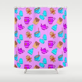 Lovely gingerbread men cookies, chocolate, hot cocoa with marshmallows, cute girly winter pattern Shower Curtain