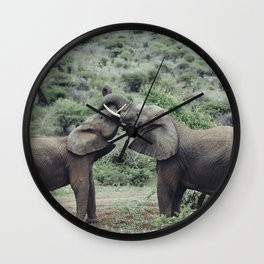 Elephants Bonding Wall Clock