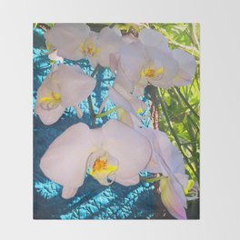 Pink, White and Yellow Orchids Throw Blanket