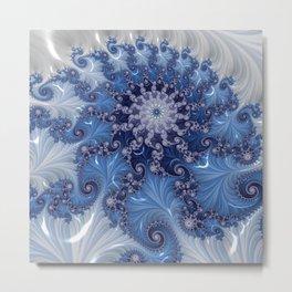 FRACTAL BLUE/WHITE GLOSSY Metal Print