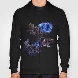Blue peonies sumie ink and watercolor painting Hoody