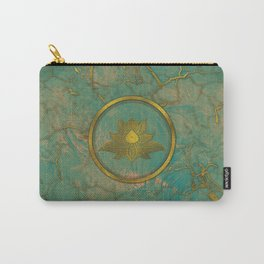 Elegant  Gold Lotus flower on marble Carry-All Pouch