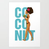 coconut wishes Art Prints featuring Coconut by KAA illustration