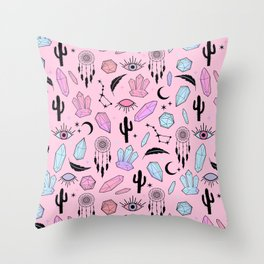 Desert Crystals Theme Throw Pillow