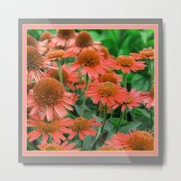 Coral Echinacea Garden Flowers Metal Print