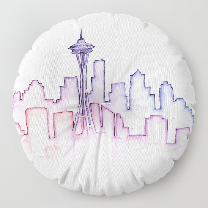 Seattle Skyline Watercolor Floor Pillow