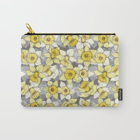 Daffodil Daze - yellow & grey daffodil illustration pattern Carry-All Pouch