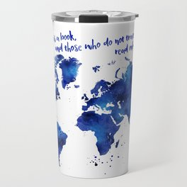 The world is a book, world map in shades of blue watercolor Travel Mug