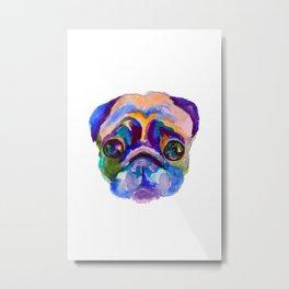 Watercolor pug portrait Metal Print