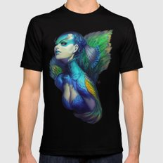 Peacock Queen Mens Fitted Tee MEDIUM Black