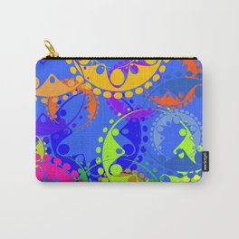 Texture of bright colorful gears and laurel wreaths in kaleidoscope style on a blue background. Carry-All Pouch