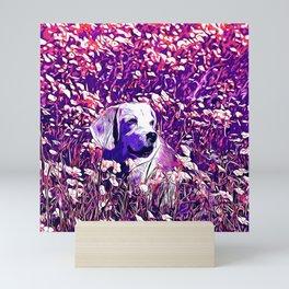 beagle dog flower field vector art purple Mini Art Print