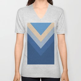 Blue Chevron Arrows Unisex V-Neck