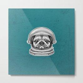 Astronaut Pug Metal Print