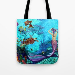 A Fish of a Different Color - Mermaid and seaturtle Tote Bag