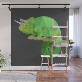 Low Poly Chameleon Wall Mural