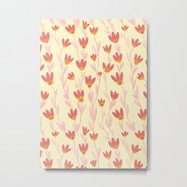 Red Tulips Pattern Metal Print