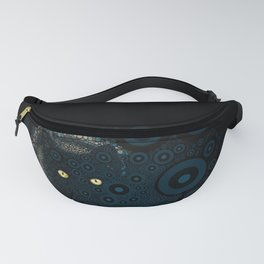 Cat In The Shadows Circle Mosaic Fanny Pack