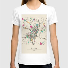 Colorful City Maps: Bogota, Colombia T-shirt