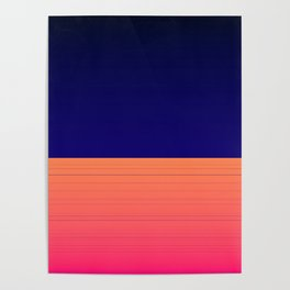 Vibrant Navy Blue Orange Pink Stripe Poster