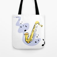 saxophone Tote Bags featuring Saxophone Sax by shopaholic chick