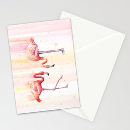 Two Flamingos Watercolor Tropical Birds Animals Stationery Cards