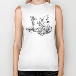 Untitled Melodies (Black and White) Biker Tank