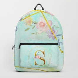 Gold Foil Alphabet Letter S Initials Monogram Frame with a Gold Geometric Wreath Backpack
