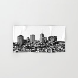 city view at San Francisco in black and white Hand & Bath Towel