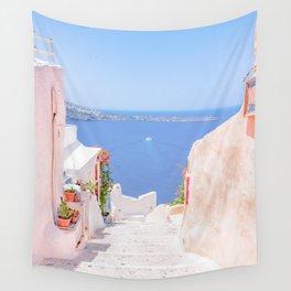 Santorini Greece Mamma Mia pink street travel photography Wall Tapestry