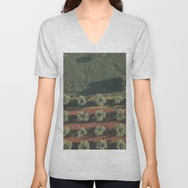 Aerial photo, nature textures, drone photography, olive trees, Apulia, Italian countryside Unisex V-Neck