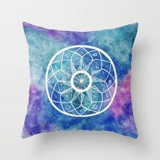 Watercolour Cosmic Mandala Throw Pillow