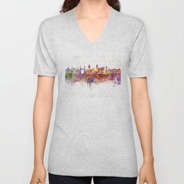 Lima skyline in watercolor background Unisex V-Neck