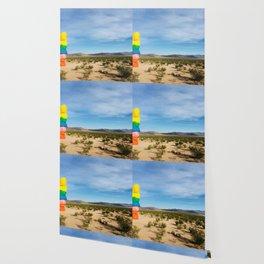 Seven Magic Mountains | Highway Landmark Blue Sky Desert Wilderness Wallpaper