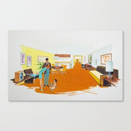 1950's Motel Room Artwork from Wildwood, NJ. Retro Motel Illustration Canvas Print