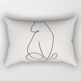 One Line Kitty Rectangular Pillow