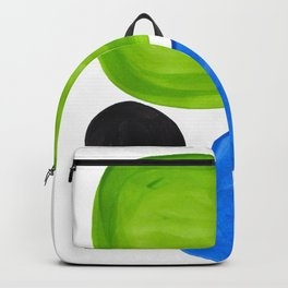 Mid Century Vintage Abstract Minimalist Colorful Pop Art Lime Green Phthalo Blue Black Bubbles Backpack