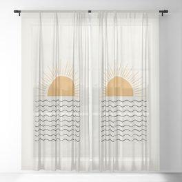 Sunrise Ocean -  Mid Century Modern Style Sheer Curtain