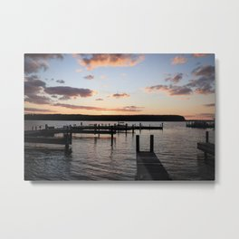 Autumn Sunset Over Great Lakes Docks - A Midwest Landscape Metal Print