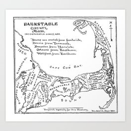 Vintage Map of Cape Cod (1890) Art Print