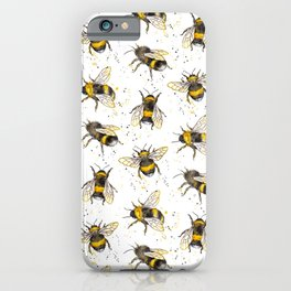 Fluffy Bumblebees (Pattern) iPhone Case
